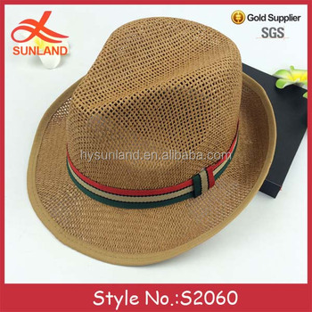 529d1938 S2060 new style mesh cheap panama hats custom logo band straw man fedora  hats wholesale
