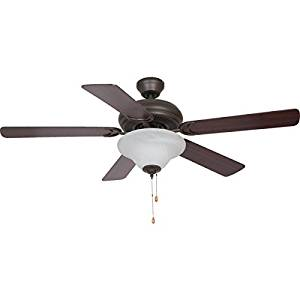 "Seasons Millbrae 52"" Five-Blade Ceiling Fan - Bronze - Ceiling Hugger Or 4"" Down-Rod Dual-Mount Three Speed Reversible Rotation - Medium Oak/Dark Cherry Reversible Blades Alabaster-Style Glass Bowl Light Kit - Three 60W Candelabra Base Bulbs Included ENERGY DATA AT HIGH SPEED: CFM, 4828; Watts, 57;"