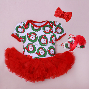 2015 baby christmas clothes baby rompers tutu dress head band shoes girls christmas clothing