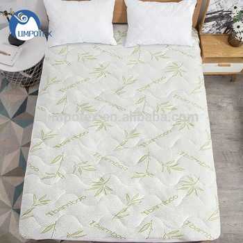 Antimicrobial quilted bamboo mattress pad in multiple sizes