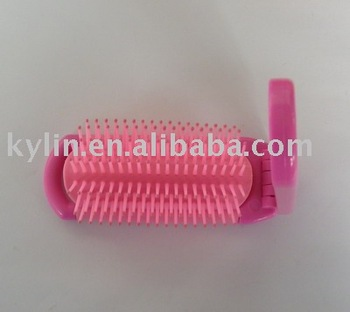 travel foldable hair brush with cosmetic mirror set