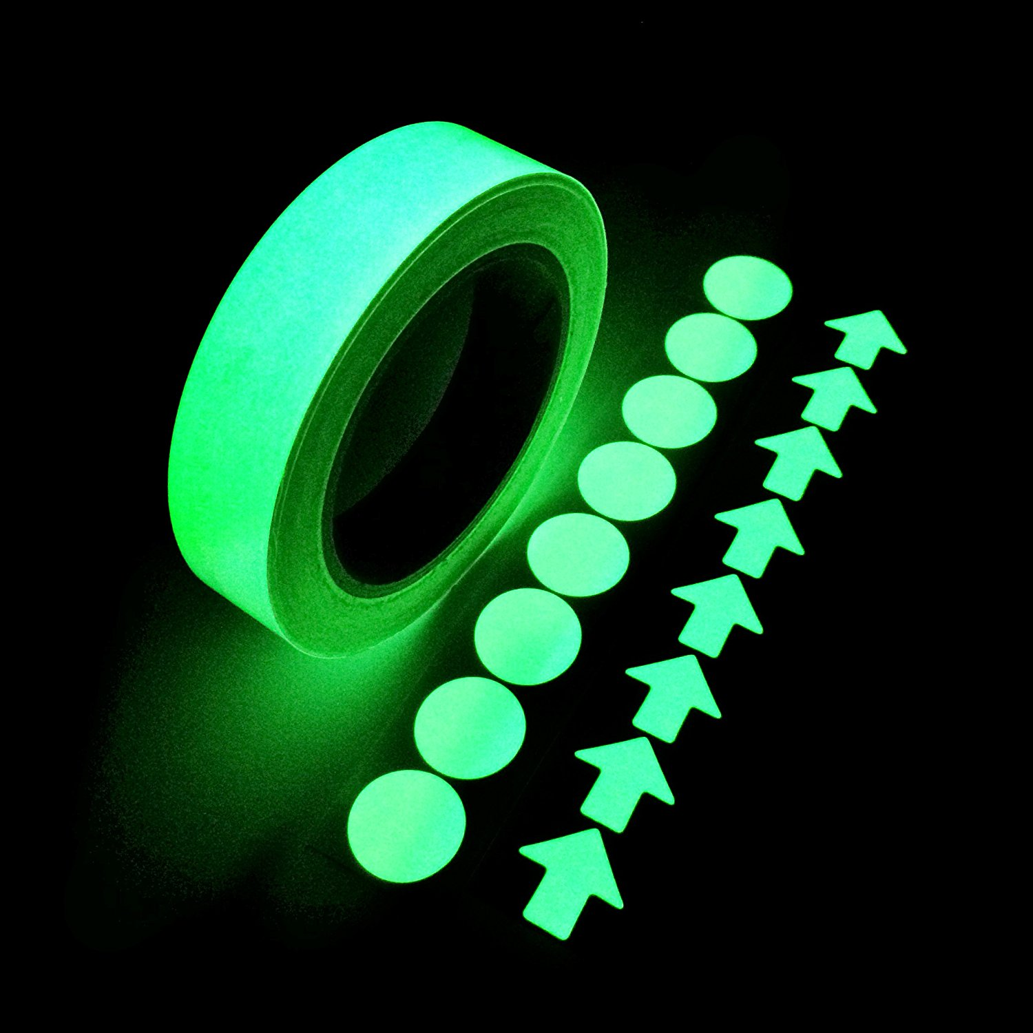 Glow in the Dark Self-adhesive Tape, Green Light Luminous Tape Sticker 20 Feet X 0.8 Inch Removable Waterproof Durable Wearable Stable Safety Fluorescent Emergency Roll