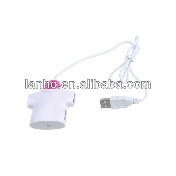 2013 New 4 Port USB 2.0 High Speed Mini HUB For Laptop PC White and Pink