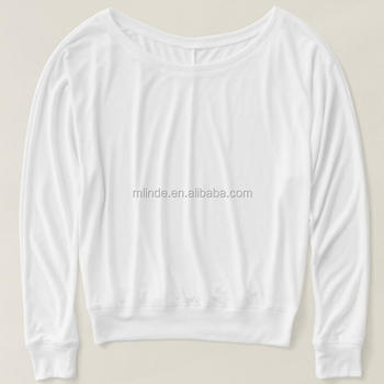 5a93ae9a0646 Women Long Sleeve T-shirt Wholesale Slim Fit Sweatshirt Plain White Organic  Cotton 100%