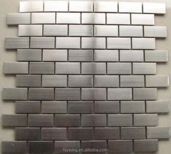 Whole Strip Brushed Rust Proof Metal Subway Mosaic For Decorative Kitchen Bathroom Backsplash Accent Wall