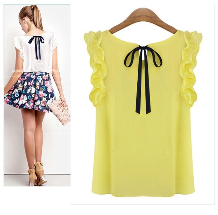 gasa mariposa casual delgado mujeres 2014 camisas las de manga de blusas tapas para femininas las WqvUxfSZ0