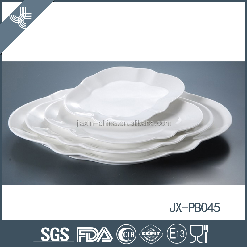 White porcelain fruit and snack plate heat resistant ceramic dinnerware set