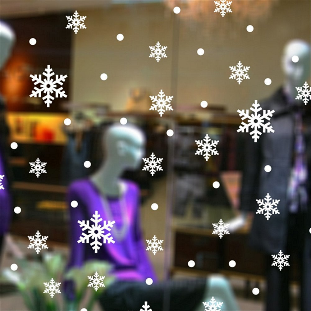 Leemall Frozen Snowflake Wall Decor Snowflake Floor Decals Christmas Decoration Decal Window Stickers Home Decor Window Clings Wallpaper