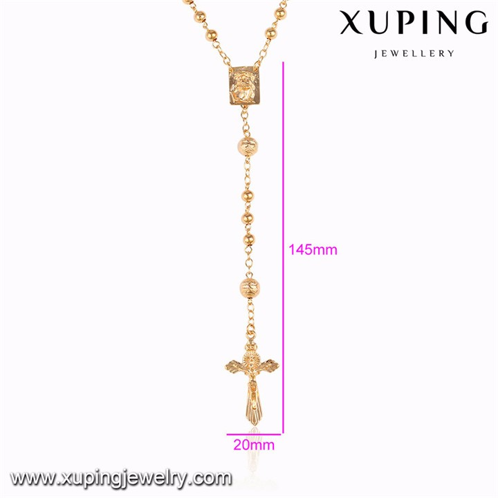 43190 xuping gold jewelry corss design bead rosary necklace