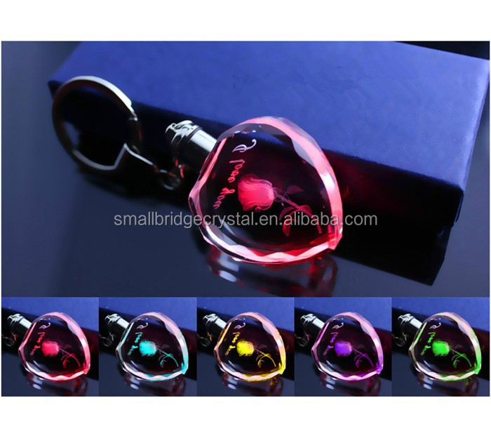 Heart shape crystal keychain with LED light