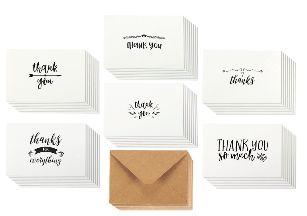 Myway 6 designs thank you cards pack,kraft thank you cards for wedding party crafts 4x6