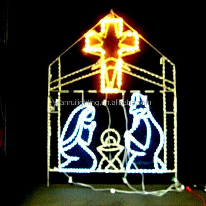 Waterproof outdoor/indoor cross lighted decoration led church rope motif