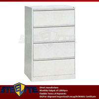 horizontal metal 4 drawer office pedestal cabinet/knock down cabinet file 4 drawers/office white long chest of drawers 4