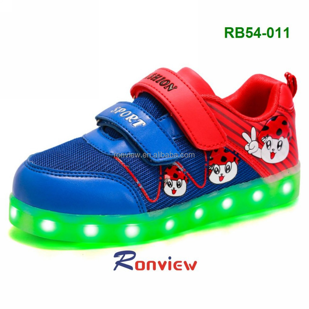 kids cute assorted colors light led sport shoes for casual