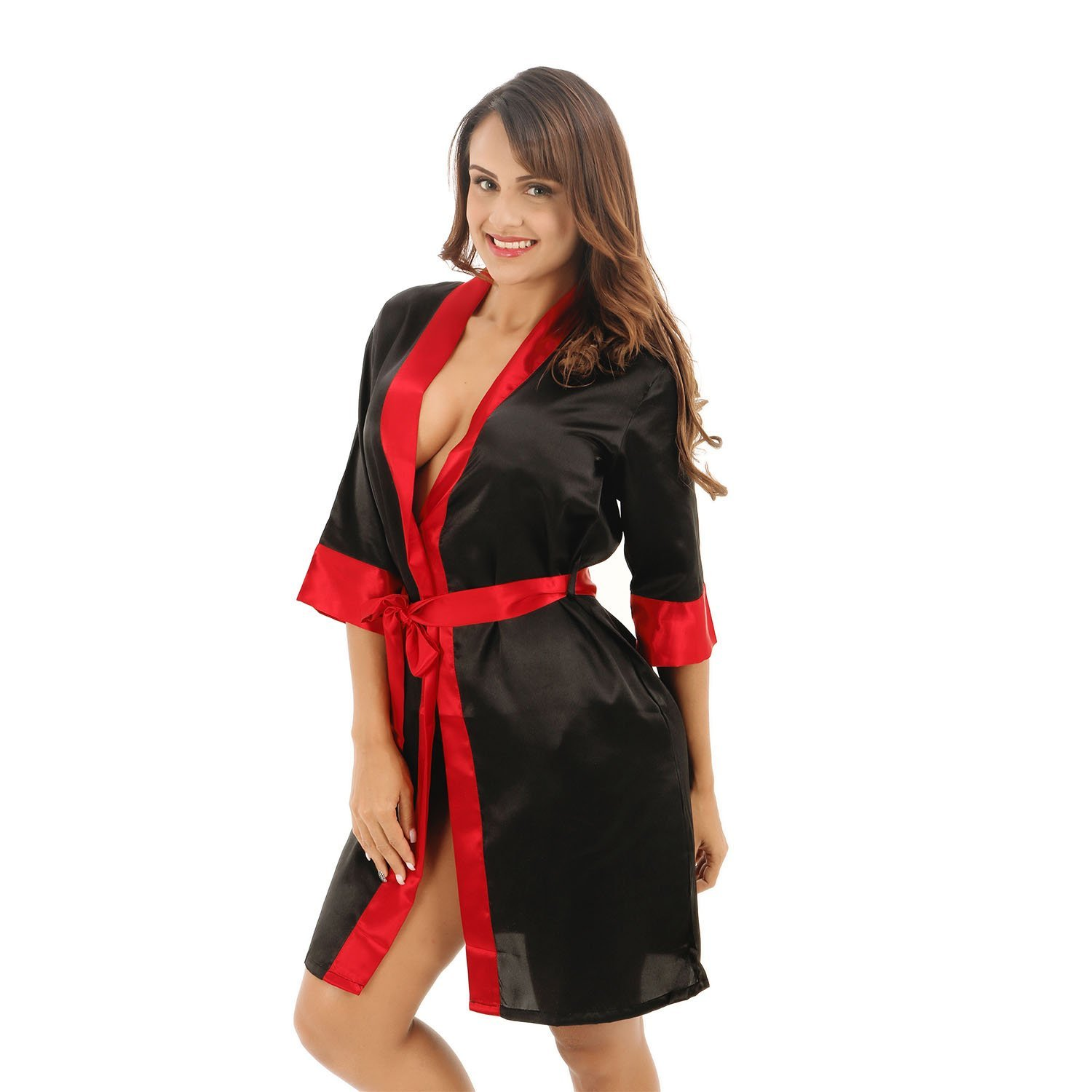 Get Quotations · Bathrobe Ladies Silk Satin Dressing Gown Robe Bathrobe Tie  Waist Long Kimono Relaxed And Confortable Home a4f040bc3
