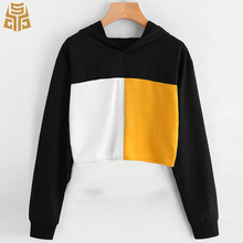 Long Sleeve Color Block Spliced Custom Hoodie Cheap Crop Tops Wholesale Women