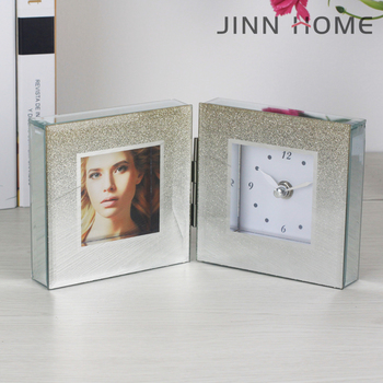 2018 New Home Decorative Morden Tabletop Bling Bling Glass Crytal Digital  Square Photo Frame Clock