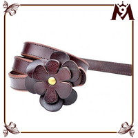 Wholesale China of bohemian style fashion thin leather belt with leather flower buckle