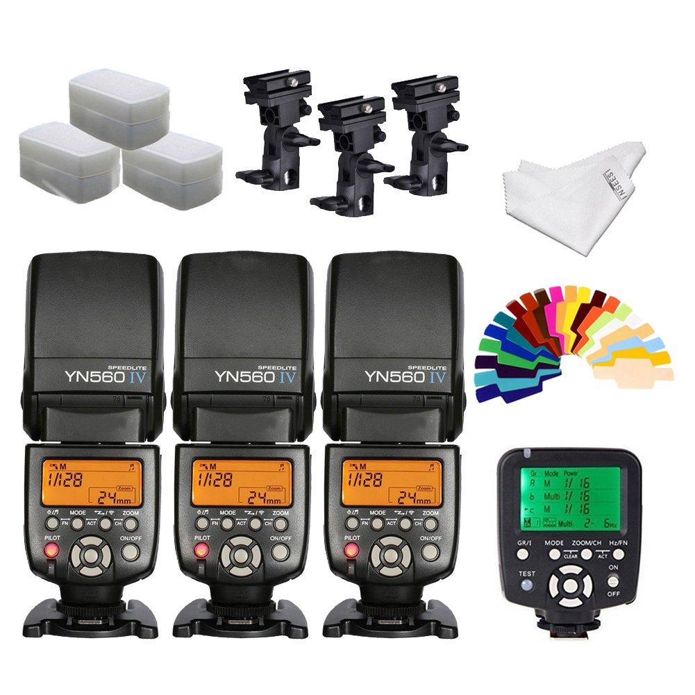 YONGNUO YN560iv Wireless Speedlite 3pcs +YN560TX Flash Controller for Canon Cameras+B Type Flash Swivel Bracket+INSEESI Clean Cloth +3 Flash Diffusers+20 Color Gels
