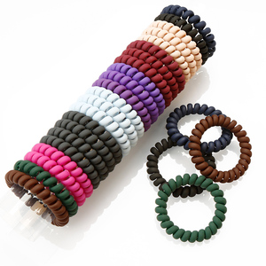 Wholesale new matt lacquer telephone cord plastic elastic hair ties hair bands ponytail holder
