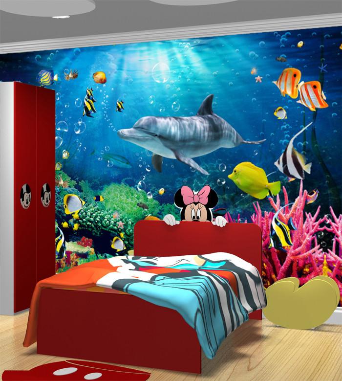 Wasserdicht Vinyl Tapete Unterwasserwelt Delphin Dekorative 3d Tapeten  Kinderzimmer - Buy Innen Tapete Wandmalereien,Eco Non Woven  Tapeten,Unterwasser ...
