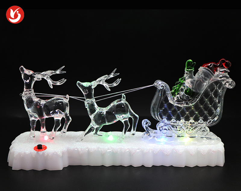 Acrylic Christmas Led Decorations Santa Reindeer Sleigh
