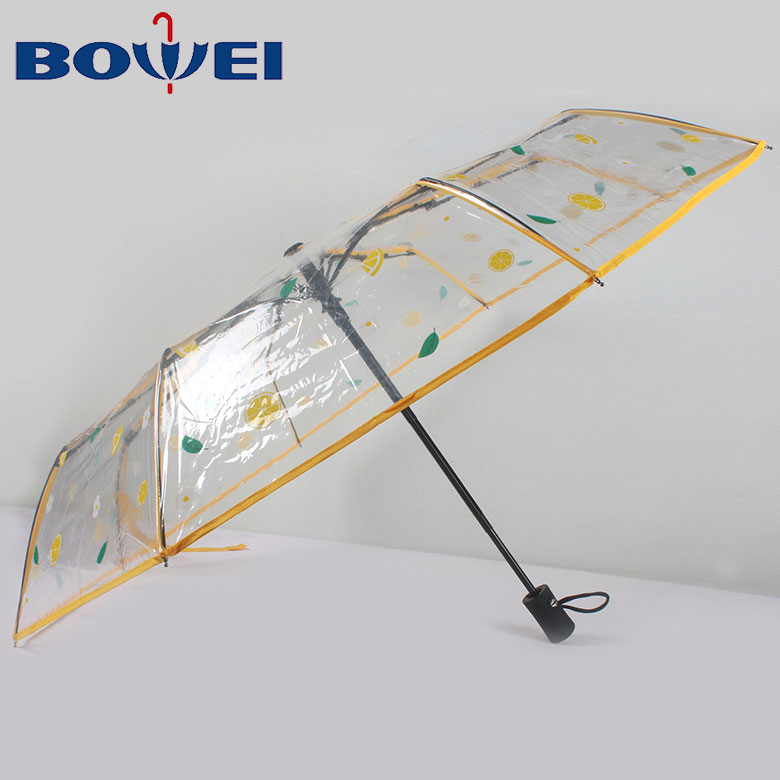 2020 China hot products poe transparent 3 folding clear umbrella with printing