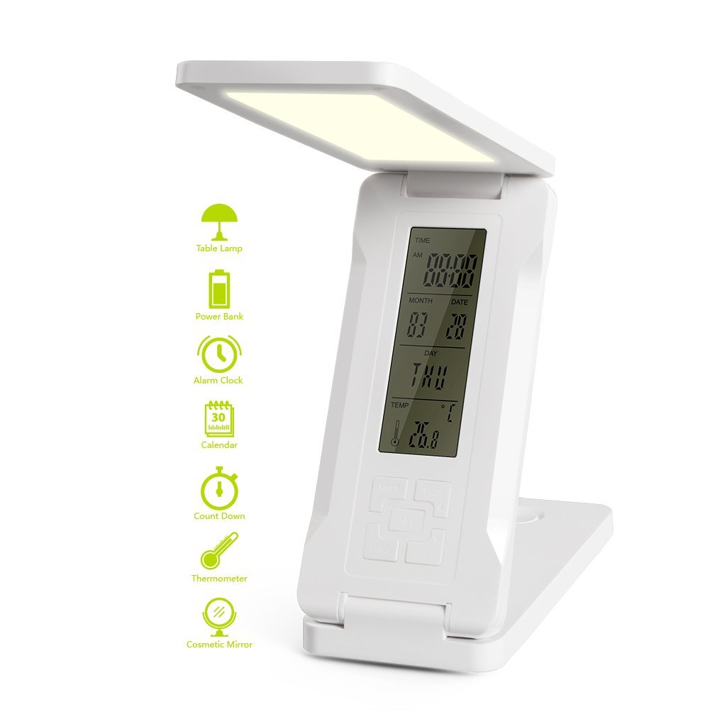 Foldable LED Desk Lamp with 15000mah Power Bank, Elzle Eye-Care Dimmable Touch Control Lamp with 2 Lighting Choices, Alarm/Clock/Calendar/Temperature Display/ Mirror Multi-function Lamps