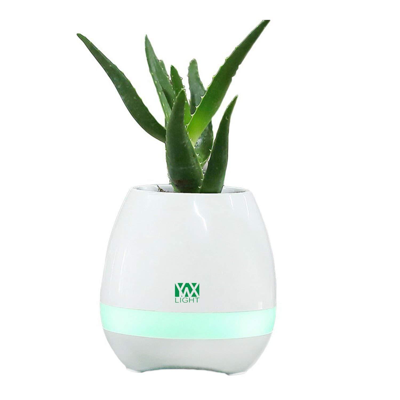 SRY-LED LED Music Bluetooth Flower Pot Light LED Night Light Flower Vase Play The Piano Decoration Planter Speaker (Color : White)