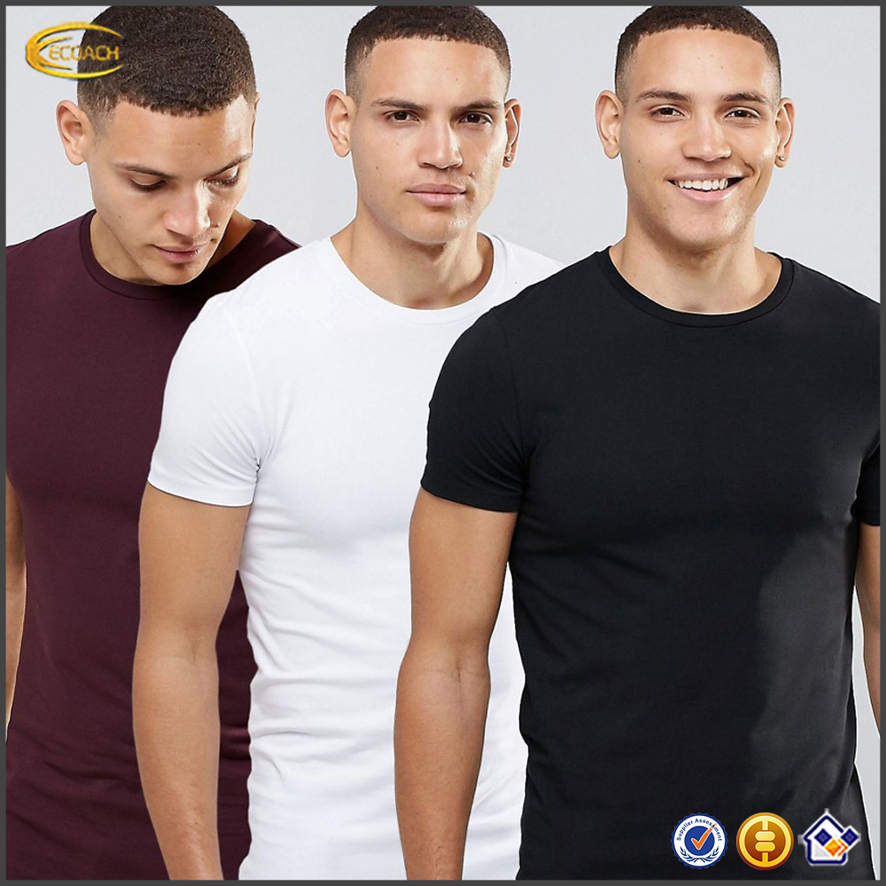 Ecoach high quality crew neck stretch jersey 100% egyptian cotton slim fit blank fitted mens blank t-shirt