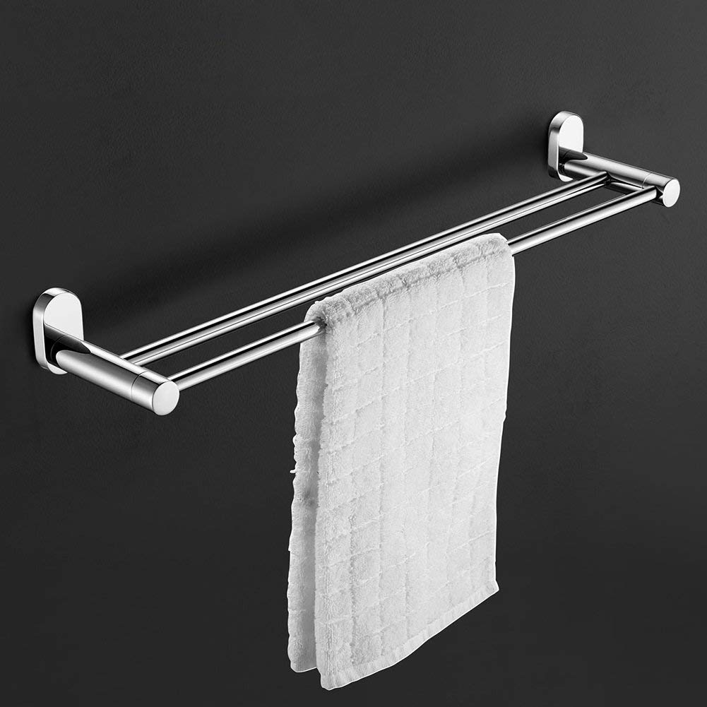 EQEQ Towel Rack Towel Rack/Stainless Steel Thickened Double Towel Rail Hanging Rod/Bathroom Towel Rack/Long Trailer Towel/Toilet Trailer (Style: 1)