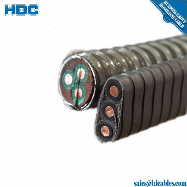 Oil Submersible pump cable 140 C EPDM insulation lead jacket galvanized steel tape armoured 3 core 10mm2 round cable