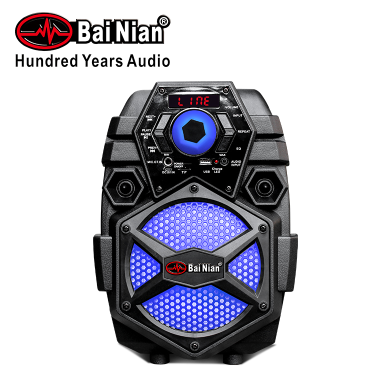 6 inch rechargeable portable trolley mini speaker with bt one wired mic