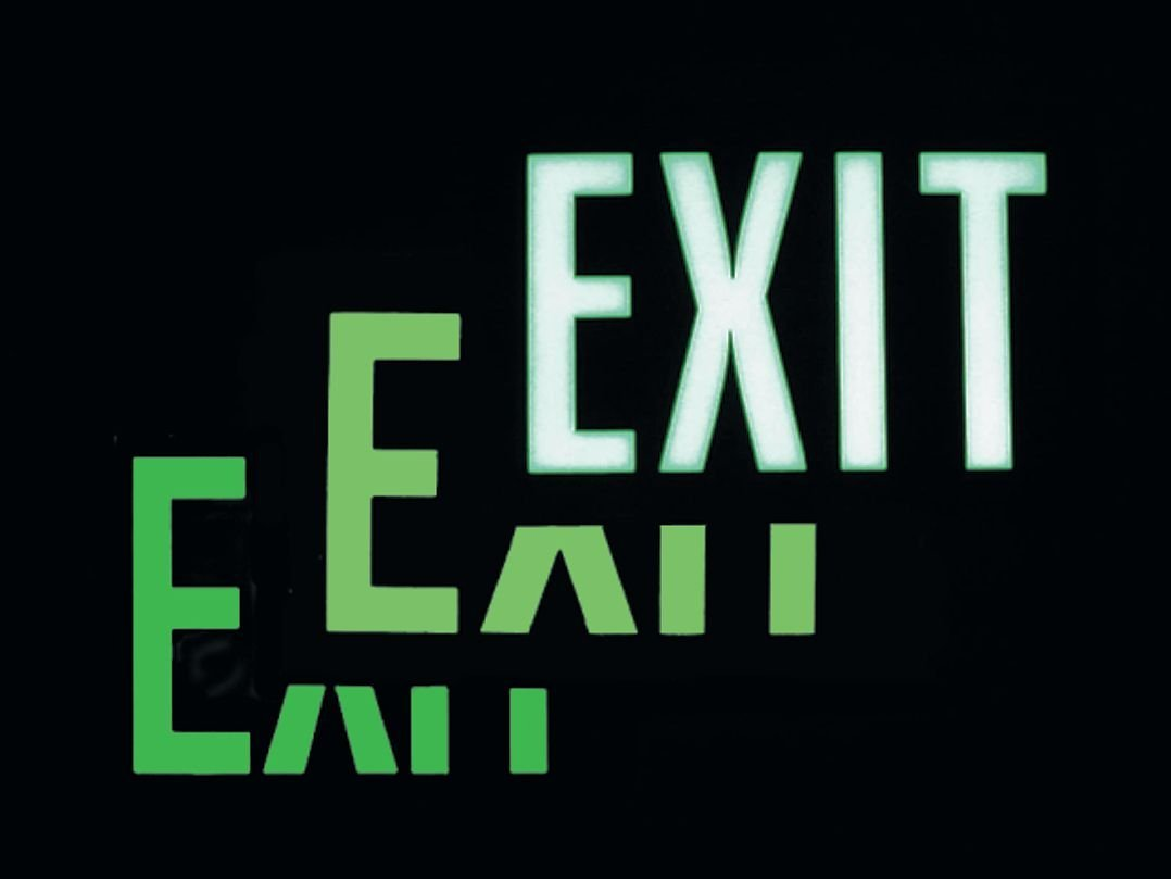Emergency Exit Sign, 9 x 12In, EMER Exit