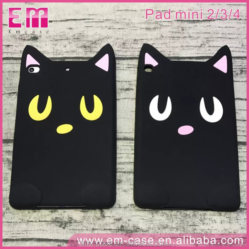 Electronics Cute Black Moon Cat 3D Animal Smart Cover Case for iPad mini2/3/4