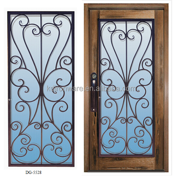 2015 Popular Wrought Iron Metal Main Entrance Doors Grill Designs