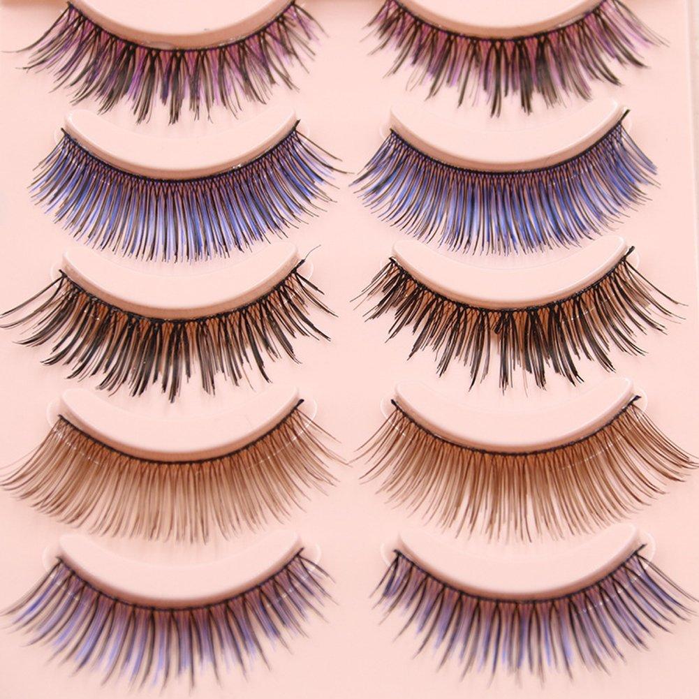 e19ac8da2ad Get Quotations · Scala 5 Pairs Professional Natural Thick Short Colorful  False Eyelashes Fake Eye Lashes Handmade Makeup Nature