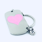 Shinny silver and fill pink enamel dog tag name tag key chain with keyring