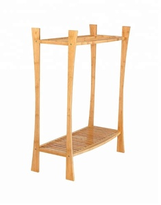Free Standing Bamboo Towel Rack Stand with w/Bottom Shelf Bathroom