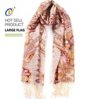 Top quality cheap price new design twill silk scarf printing women with tassel