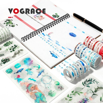 2019 Vograce Custom Removable floral stickers washi tape with wholesale