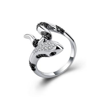 79ed1c0333dc Anillo de plata 925 con piedra negra para hombre y mujer de serpiente de  joyería anillo