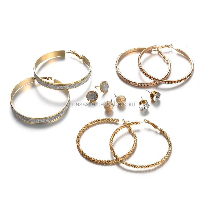 New Gold Large Diamond Hoop Earrings Set For Women wholesale NS8037193