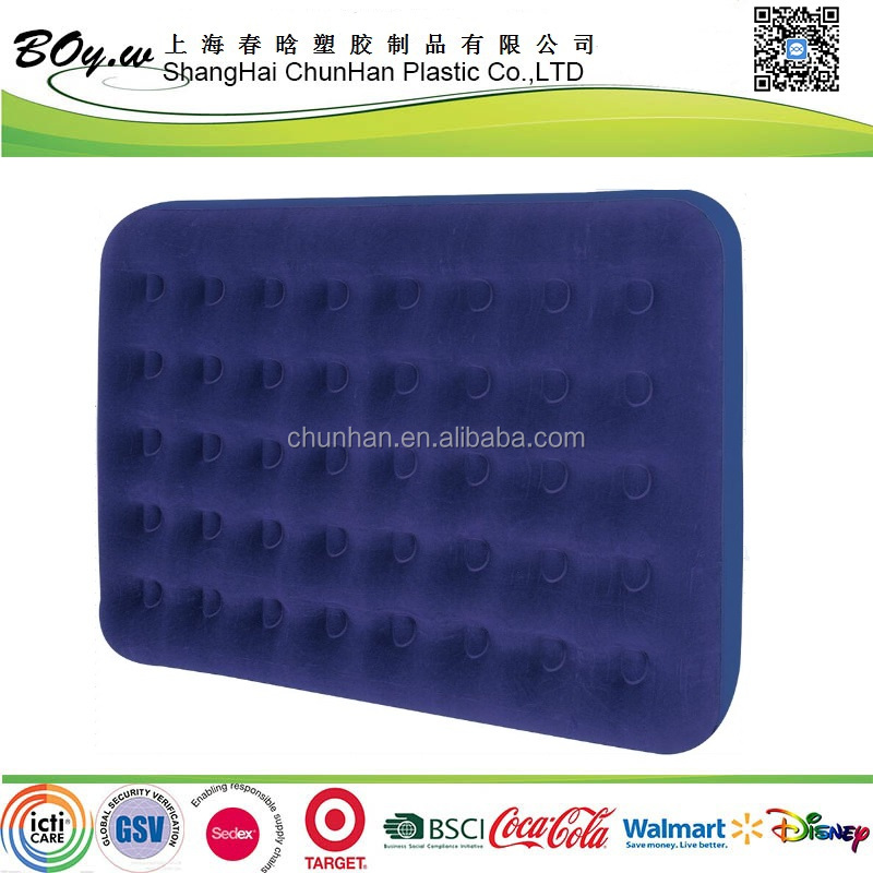 Manufacturer wholesales camp mattress travel sleeping pvc flocked inflatable pvc air bed