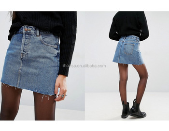 2017 Fashion Latest Women Casual Low Raise Waist Denim Jean Skirts Design Sexy Half Skirt