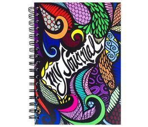 High Quality Spiral Bound Hardcover Journal Notebook With Hand Drawn Design, Perfect Creative Notebook For Women & Girls