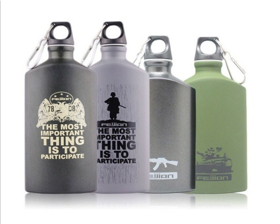 Facroty wholesale 500ml Aluminum Flat Military Drinking water bottle ,New Design Flat military Water bottle