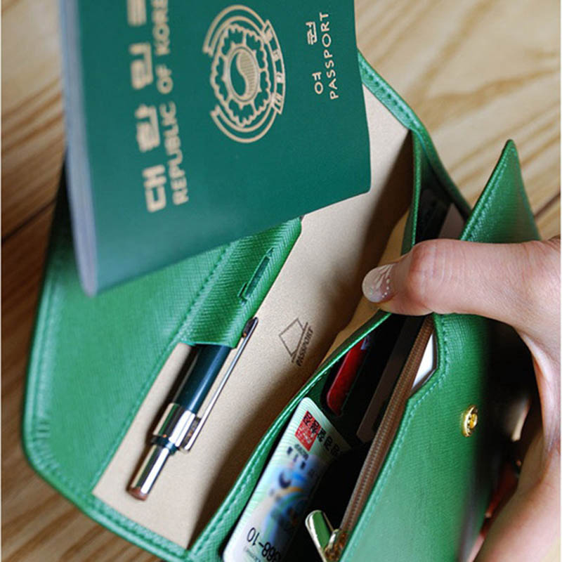 Travel Passport Cover Foldable Credit Card Holder Money Wallet ID Multifunction Documents Flight Bit License Purse Bag PC0045 (18)