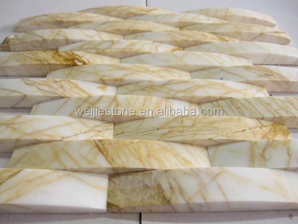 Art Deco Tegels : Marmer stenen ronde art deco wand tegels gouden steenmozaïek