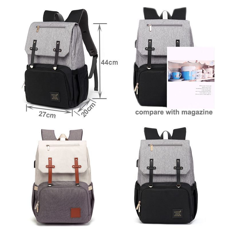 wholesale baby diaper bags backpack waterproof nappy bag  manufacturers lequeen mother maternity bag with USB milk bottle heater